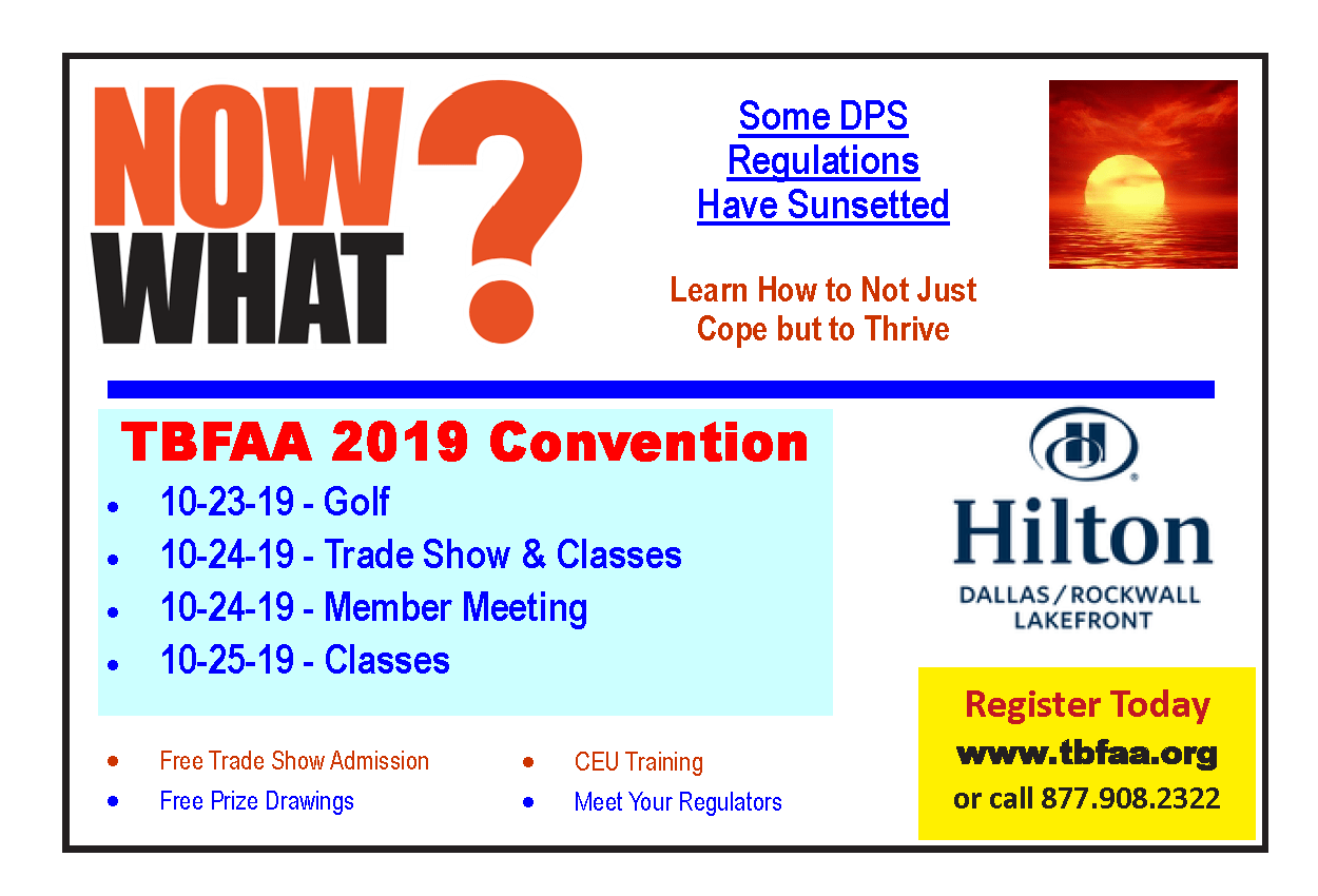 TBFAA Convention October 24 & 25, 2019 Hilton – Dallas – Rockwall Lakefront