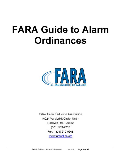 FARA Guide to Alarm Ordinances Has Been Updated