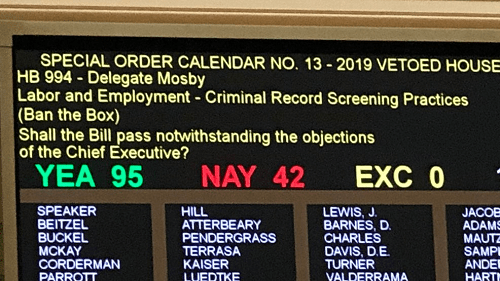 "Maryland Legislature Overrides Governor's Veto of ""Ban the Box"" Legislation"