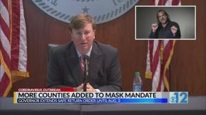 Mississippi governor extends mask mandate order; adds 10 more counties