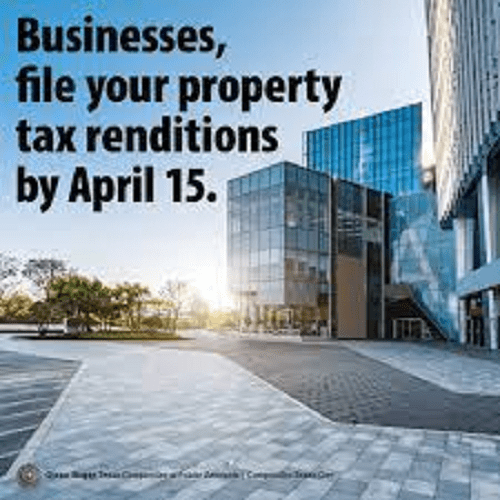 Businesses have until April 15 to submit property tax renditions